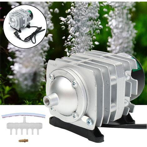 Compresseur d'air électromagnétique d'aquarium d'aquarium de pompe à air d'étang d'oxygène argent 25W 45L / min