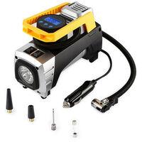 Compresseur d'air Portable 12V Gonfleur de Pneu Digital Pompe Automatique avec Lampe LED, 3 Adaptateurs de Buse, Câble 3m