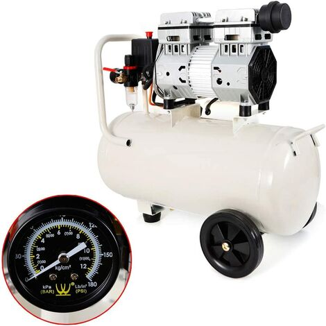 Compresseur d'air portable de 35 L - Sans huile - Silencieux - 850 W - 116 psi - 8 bar - 220 V - 53 dB
