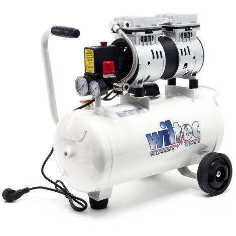 Compresseur d'air sans huile avec Réservoir 24l 750W 1CV 98l/m 1415r/m Silencieux Outil d'atelier