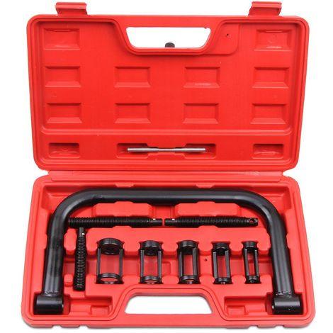 Compresseur de Ressorts de Soupape, Boite de 11 Pièces pour Compresseur de Ressort à Soupape, 11 pièces, avec une mallette rouge, Matériau: Acier C45