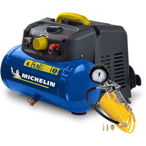 Compresseur Michelin 6 litres 1,5 cv fonctionne sans huile + kit de gonflage