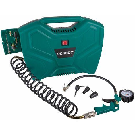 Compresseur portable 1100W - 8 bar - Sans huile – 180L/m - 11 accessoires inclus