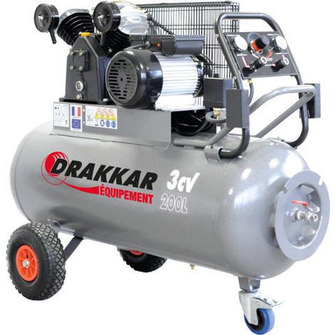 Compresseur professionnel en V sur roue 200 litres 230 Volts DRAKKAR EQUIPEMENT- S11274