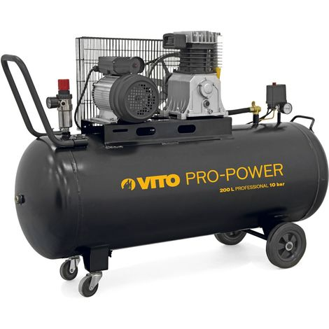 Compresseur TRIPHASE de la gamme Professionnelle VITO POWER, Moteur puissant de 3 CV et d'une capacité de 200 L