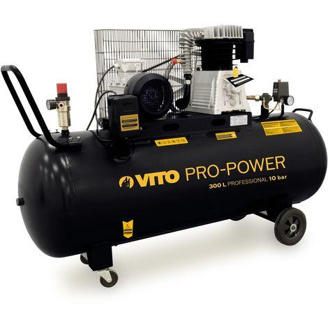 Compresseur TRIPHASE de la gamme Professionnelle VITO POWER, Moteur puissant de 4 CV et d'une capacité de 300 L
