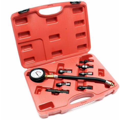 Compressiomètre pour moteurs Essence Jeu de 8 pièces Kit Testeur de compression Outil de mesure