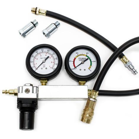 Compression pressure tester set for diagnosis of cylinder leakage in petrol engines