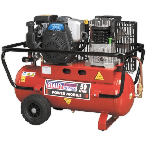 Compressor 50ltr Belt Drive Petrol Engine 4hp