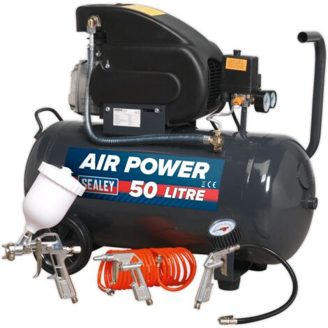 Compressor 50ltr Direct Drive 2hp with 4pc Air Accessory Kit