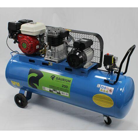 Compressor de Aire - Gasolina + Eléctrico - 200L - SAURIUM®
