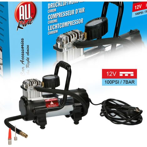 Compressore Aria 12V 100Psi 7 Bar Per Auto Bici Moto Accendisigari Portatile