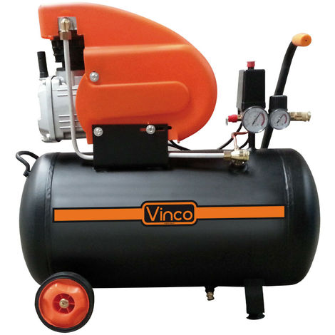 Compressore Aria 24 50 100 Lt Lubrificato ad Olio Portatile Ruote Cinghia Vinco