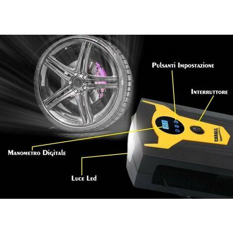 Compressore Aria Portatile Pompa Digitale Per Auto Moto Bici Con Accendisigari Si Ferma In Automatico Con Luce Led Per Uso Notturno