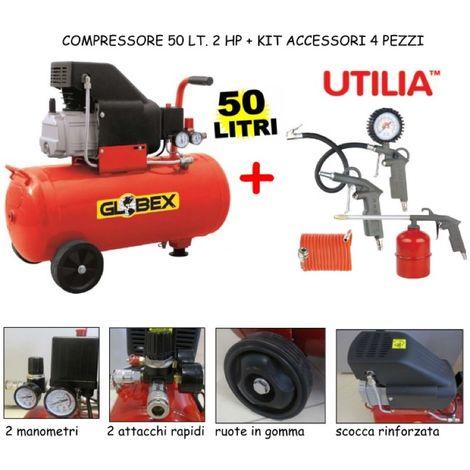 Compressore Globex Lt. 50 Hp 2 + Kit Accessori 4 Pezzi
