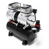 Compressore per aerografo AS196 con serbatoio d'aria 2 Cilindri 2 Pistoni 6 bar Arresto automatico