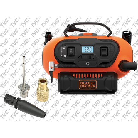 Compressore Portatile Automotive 12V-230V-Batteria 18V Black+Decker
