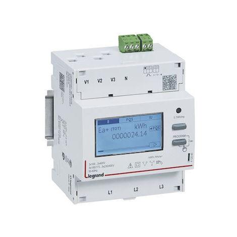Compteur 3P EMDX³ non MID raccordement TI 5A sortie impulsions - 4 modules DIN / Legrand