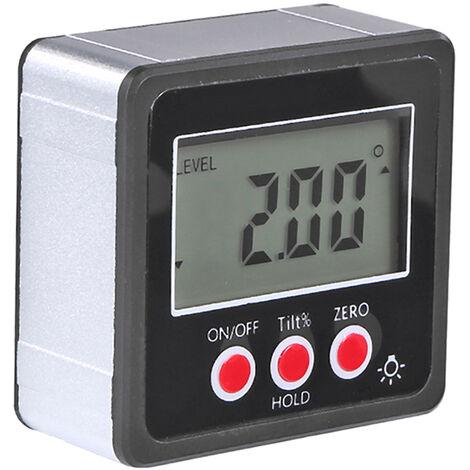Compteur D\'Angle Horizontal Rapporteur D\'Angle Numerique Inclinometre Boite De Niveau Electronique Base Magnetique Outils De Mesure Noir