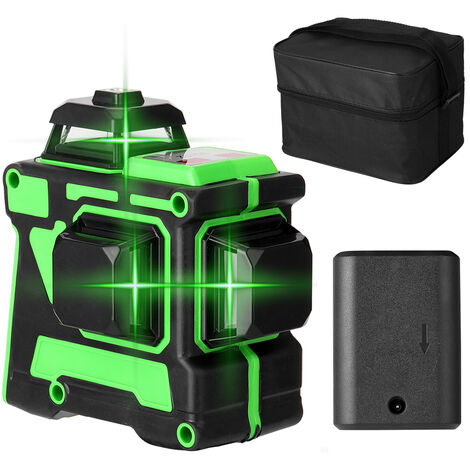 Compteur de niveau laser 3D ¨¤ 12 lignes avec indicateur de niveau + batterie + chargeur + ¨¦tui de transport Norme europ¨¦enne 220 V