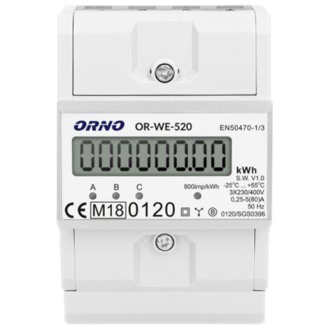 Compteur énergie triphasé certifié MID avec afficheur et sortie impulsion - ORNO