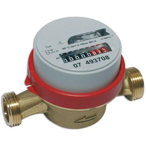 Compteur divisionnaire TU4 (chantier) eau chaude lg 110mm dn15 20x27 non communicant Réf.PWC15110BR50BS-F