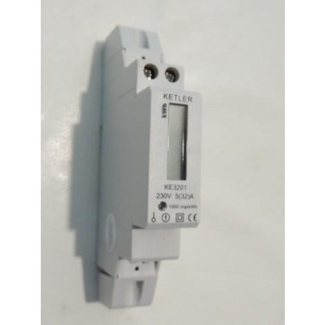 Compteur électrique monophasé 32A max affichage LCD 7 digits 230V sans remise à zéro 1 module (7360W max) KETLER KE3201