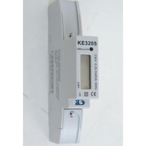 Compteur électrique monophasé 45A simple tarif conforme CE + MID (refacturation) 230V LCD 1M sans remise à 0 KETLER KE3205