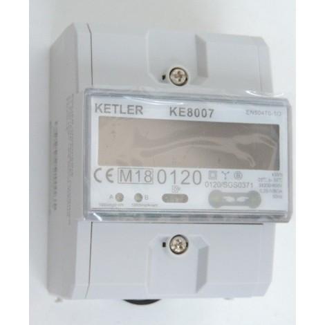 Compteur électrique tétrapolaire 80A simple tarif conforme CE + MID (refacturation) 380V LCD 4M avec remise à 0 KETLER KE8007