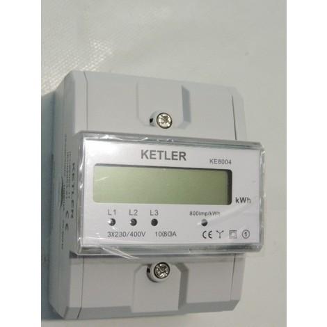 Compteur électrique triphasé 80A affichage LCD 7 digits 380-415V 4 modules (18400W max) KETLER KE8004
