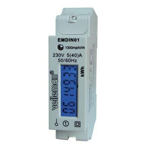 COMPTEUR kWh MONOPHASE POUR MONTAGE SUR RAIL DIN - 1 MODULE (RI4977)
