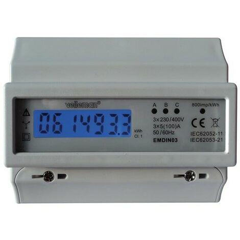 COMPTEUR kWh TRIPHASE POUR MONTAGE SUR RAIL DIN - 7 MODULES (RI4979)