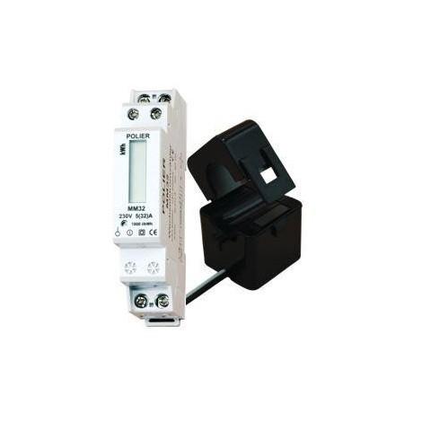 Compteur Modulaire Monophasé 100A sur Transformateur d'Intensité - affichage LCD / Polier
