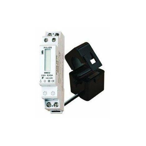 Compteur modulaire - Monophasé - 100A - Transformateur de courant - Affichage LCD