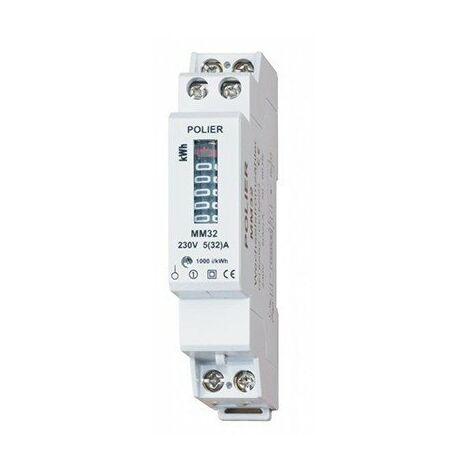 Compteur modulaire - Monophasé - 32A - 2000imp/kWh - Affichage mécanique
