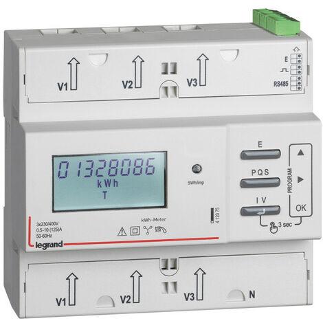 Compteur modulaire triphasé EMDX3 MID raccordement direct 125A 6 modules avec sortie à implusions et RS485 (412075)