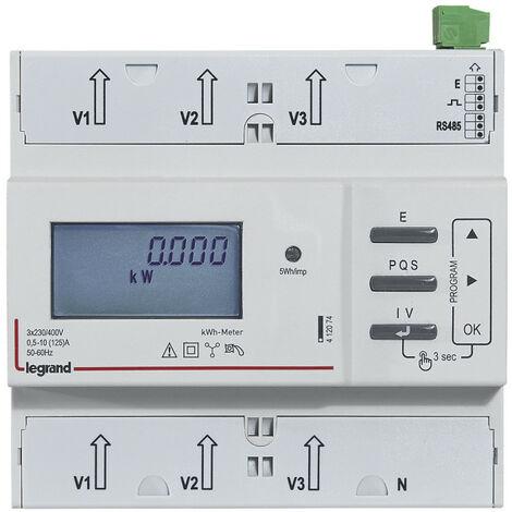 Compteur modulaire triphasé EMDX3 non MID raccordement direct 125A 6 modules avec sortie à implusions et RS485 (412074)
