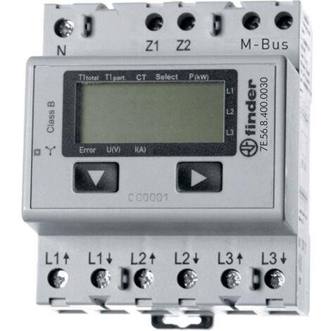 Compteur triphasé avec raccordement sur transformateur numérique Finder 7E.56.8.400.0030 5 A conformité MID: oui