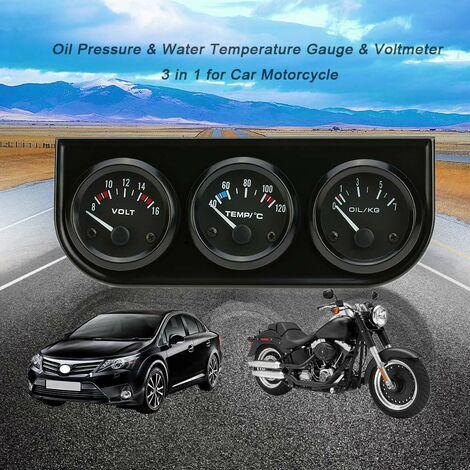 Compteur trois-en-un de tension + temperature de l'eau + pression d'huile Modele: B734