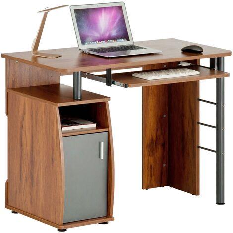 Computer and Writing Desk with Cupboard, Storage & Retractable Keyboard Shelf in Dark Pine - Piranha Furniture Elver PC 1p - Dark Pine