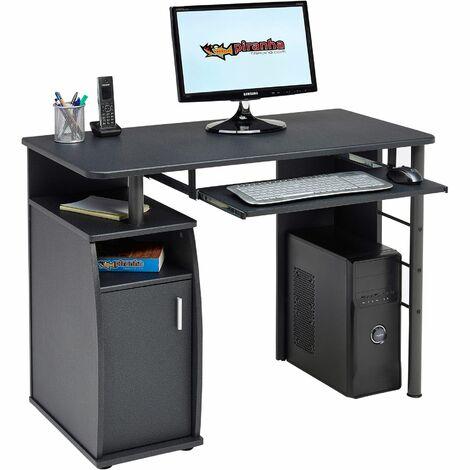 Computer and Writing Desk with Cupboard, Storage & Retractable Keyboard Shelf in Graphite Black - Piranha Furniture Elver PC 1g - Graphite Black