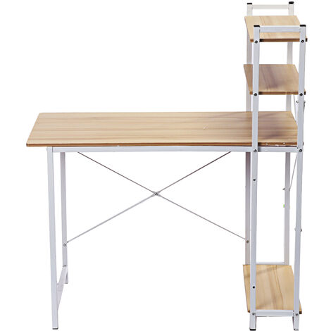 Computer Desk 100x50x72cm Table with Shelf Side Shelves