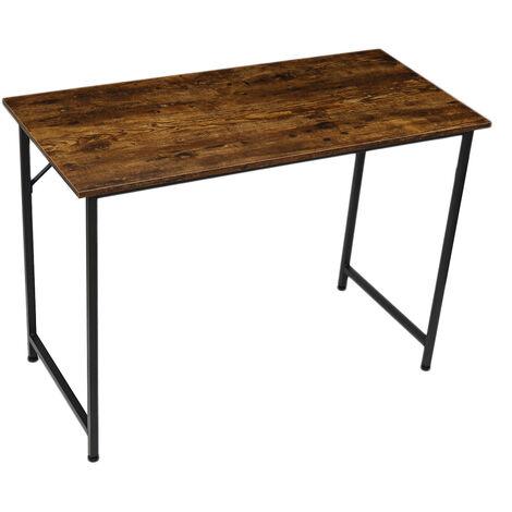 Computer Desk 105*50*73cm Brown+Black Laptop Metal Table Workstation Gaming Table