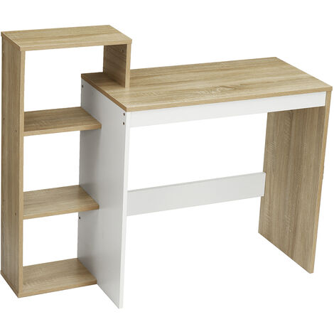 Computer Desk 110*40*91cm Walnut+White PC Laptop Table Bookshelf Workstation 4 Shelf