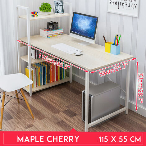 Computer Desk 115*55*73cm Maple Cherry Table Storage Bookshelf Home Office Case