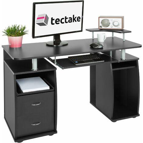 Computer desk 115x55x87cm - desk, office desk, PC desk - black - black
