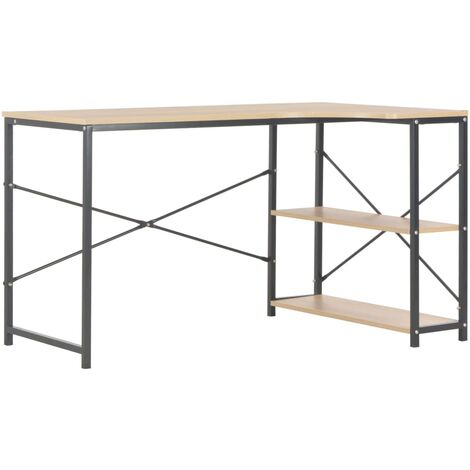Computer Desk Black and Oak 120x72x70 cm