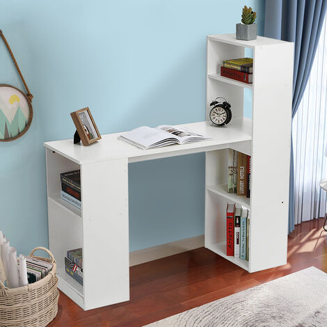 Computer Desk CPU Stand Laptop Desk with Shelves Workstation 120*45cm White
