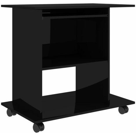 Computer Desk High Gloss Black 80x50x75 cm Chipboard