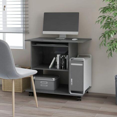 Computer Desk High Gloss Grey 80x50x75 cm Chipboard